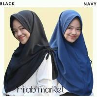 jilbab simple serut samping model instan