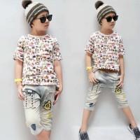 Anak Laki laki (Boy) Setelan Kaos Soft Jeans gambar Truck BABR