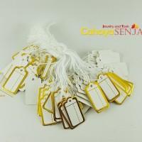 Price Tag / Label Harga / Label Perhiasan Putih list Gold isi 100pcs