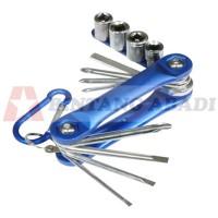C-Mart Obeng + Kunci Sok Lipat Set 12 Pcs / Tool Kit Sepeda - K0018