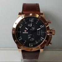 Jam Tangan Expedition E6381M Full Rose Gold Brown Leather