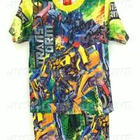 Setelan Anak Transformer Hijau - Baju Celana Anak Gambar Kartun