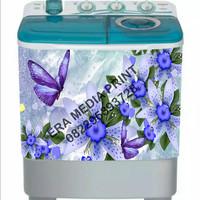 stiker mesin cuci 2 tabung kupu-kupu