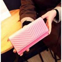DOMPET PINK PANJANG IMPORT CLUTCH BAG SERBAGUNA WANITA KOREA GLAMOUR