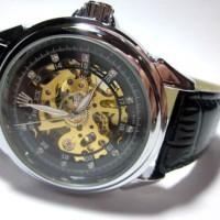 Jam Tangan Skeleton Otomatis Rolex Swiss Made Watch Kulit Asli