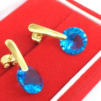 Anting Stainless Steel Lapis Emas 18k Gold Kaku Batu Biru Muda BE123B
