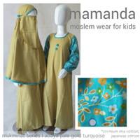 K315 (4-9 th) Baju Muslim Anak / Gamis Anak Mamanda MS Abaya Pale Gold