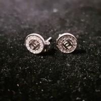 anting STUD CHANEL ROUND/ silver 925 lapis emas putih/ perhiasan