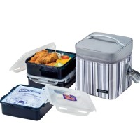 Lock&Lock Lunch Box Set with Gray Stripe Bag - HPL856DG