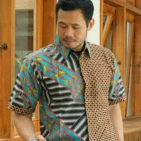 PROMO Baju Batik Kemeja Hem Pria Kombinasi Kawung Katun Cap