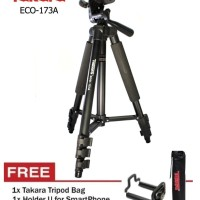 Tripod TAKARA ECO 173a plus holder for Camdig, actioncam dan Hp
