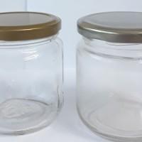 Botol Toples Jar Kaca 250ml, Tutup Seng warna PERAK : mulut Besar