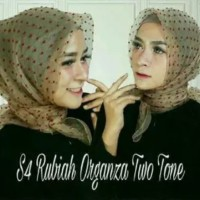 Jilbab Segi Empat Rubiah Dot Bahan Organza Two Tone / Rubiah Dotty