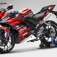 Decal stiker R15 V3 Black red Racy style