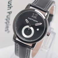 Jam Tangan Pria / Cowok Murah Hush Puppies Clasic Leather Black