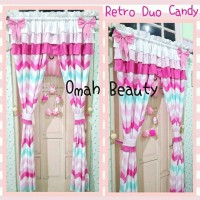 Gorden Serut Rumbai Triple 2 Pita Jumbo Motif Retro Duo Candy