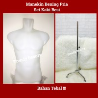 Manekin Pria Bening Otot Setengah Badan Set Tiang Besi Bahan Tebal!!!