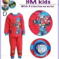baju tidur bayi laki Transformers piyama HM kids kancing 3d