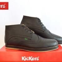 sepatu formal boots pria kickers wingtip hitam sol hitam kulit pull up