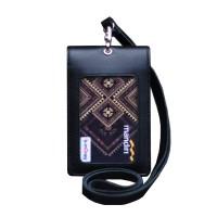 Id Card Holder Double Flip Magnet Tali Kulit Hitam