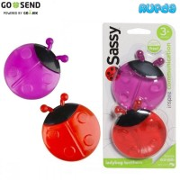 Sassy Lady Bug Ladybug Teethers, Mainan Gigitan Bayi 3 Bulan