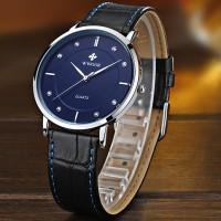 WWOOR 8811  Jam Tangan Pria Klasik Tipis Tali Kulit - Blue