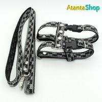 Tali + Harness Motif tipe H lebar 1.6cm / tali tuntun anjing