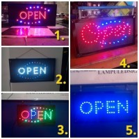 GROSIR TULISAN LAMPU LED SIGN DISPLAY OPEN (5 macam model) - MURAH TOP