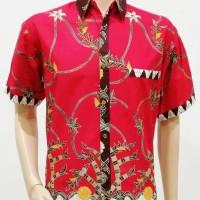 Kemeja / Hem / Atasan / Baju / Seragam Pria Batik 2181 Merah BIG SIZE