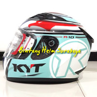 Helm Full Face KYT R10 Race Aqua Blue Flat Visor Pinlock Edition