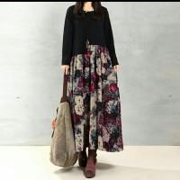 Dress Maxi ZANZEA Dengan Gambar Bergaya Vintage Elegan Bahan Katun