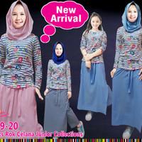 (7-12th) Baju Setelan Muslim Anak Perempuan LP Bunga Garis Celana Rok