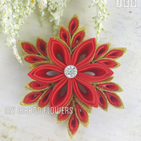 MyRibbonFlowers Jepit Rambut Headpiece Snowflakes Red Gold J60