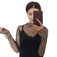 W46 Kaos Atasan Luaran Wanita Transparan Sheer Top Sheertop - Mozaik