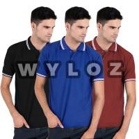 Kaos Polo Shirt Black Lacos Trendy Copy Sun / Eceran / Grosir