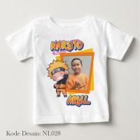 Kaos Foto Nama Anak Naruto NL028 Putih uk 0, 1 dan 2