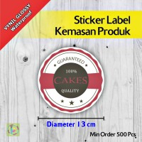 Sticker Label Kemasan Produk | Vynil | Diameter 13 cm