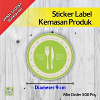 Sticker Label Kemasan Produk | Vynil | Diameter 9 cm