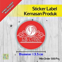 Sticker Label Kemasan Produk | Vynil | Diameter 13,5 cm
