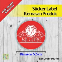 Sticker Label Kemasan Produk | Vynil | Diameter 5,5 cm