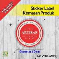 Sticker Label Kemasan Produk | Vynil | Diameter 10 cm