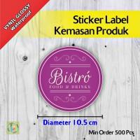 Sticker Label Kemasan Produk | Vynil | Diameter 10,5 cm