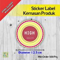 Sticker Label Kemasan Produk | Vynil | Diameter 12,5 cm