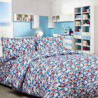 Bed cover set katun lokal halus Doraemon Stacks Size 160x200/180x200