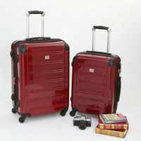 "Koper Swiss Military Hard Case Luggage - 24"" - Red Wine"