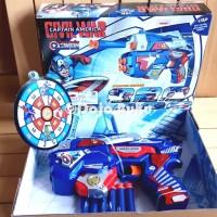 Mainan Pistol Tembakan Soft Bullet Gun Captain America