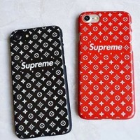 soft case louis vuitton LV Supreme Red iphone 5 5s 5SE Iphone 6 6s