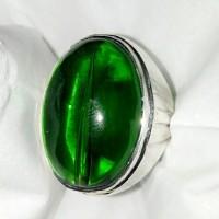 Natural Obsidian Green Cyclop Susup Big Size Ring Perak 925 Handmade