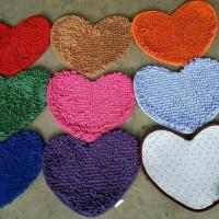 Jual keset cendol love microfiber cinta floor mat dust cover anti slip bath Murah