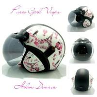 Helm Retro Bogo Dengan Kulit SNI Wanita Motif Paris Cantik